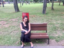 Anna on a Kit-Kat bench