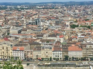 Close up of part of the city from the top of the hill