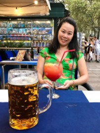 Enjoying a drink on La Rambla