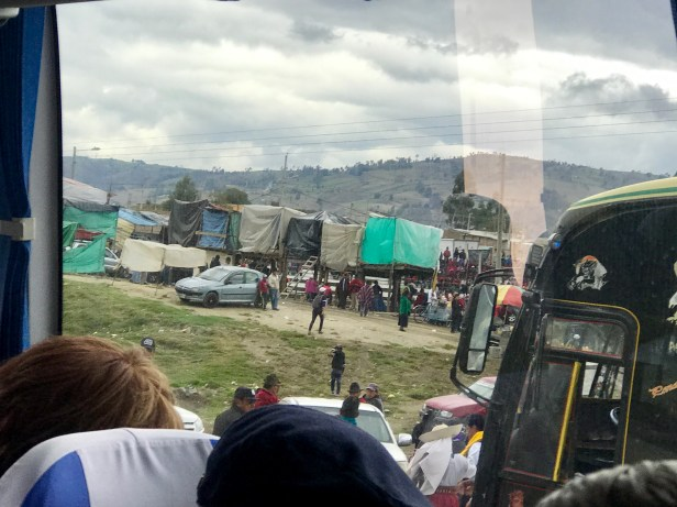 The makeshift rodeo stadium as seen from the bus