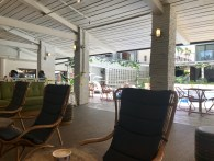 The poolside area