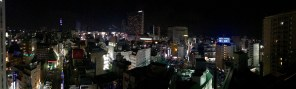 The view from the rooftop bar in our hotel at night