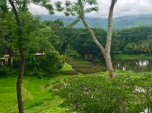 Looking over the gardens and farmland of the resort