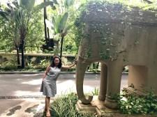 An elephant statue near our villa