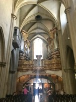 This guilded pipe organ is the largest Baroque pipe organ in Vienna