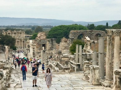 Looking down the street toward the Library of Celsus