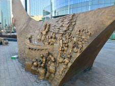 The reverse side of a sculpture near the Gangnam Style one