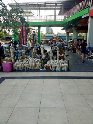 A weird part of the flea market in the mall from a distance