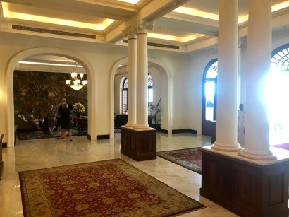 Inside the lobby of the Galle Face Hotel