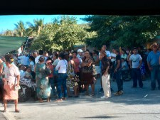 Our first glance of the waiting crowd from the van
