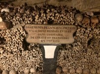 """Bones of the old cemetery St. Laurent deposited in 1848 in the western ossuary and transferred in September 1859"""