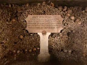 """""""Bones of the Old Cemetery of the Magdalen (street of the city Leveque No. 1 and 2) deposited in 1844 in the ossuary of the west and transferred in the catacombs in September 1850"""""""