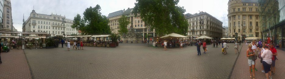 Panoramic shot of one of several town squares