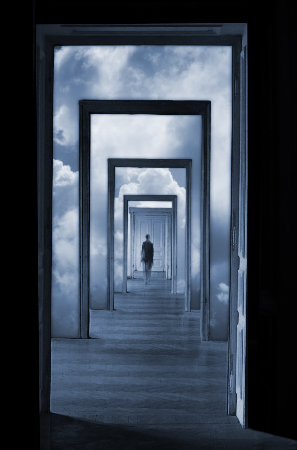 Within a Dream; in front of a closed door.