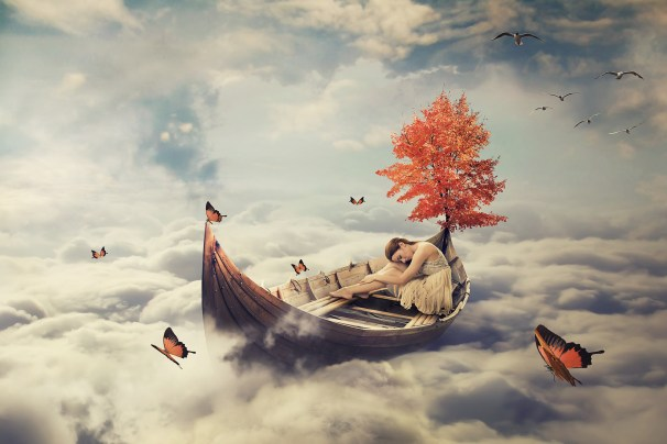 Young lonely beautiful woman drifting on a boat above clouds. Dreamy screensaver
