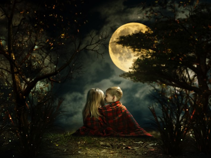Children whispering in the fairy magic forest. Big moon, night, little boy and girl. Picture - a fairy tale for children
