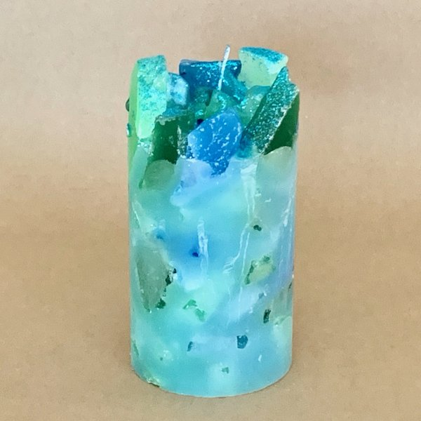 Blue Scented Pillar Candle (Summer Sky)