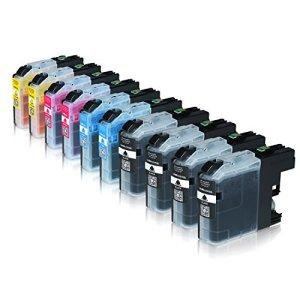 Set 10 Patronen für Brother LC121 LC123 mit Chip und Füllstandsanzeige . Geeignet für DCP-J4110DW MFC-J4510 DW.