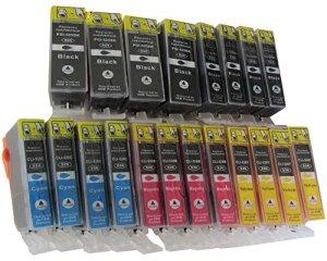 20 Druckerpatronen MIT CHIP für Canon Pixma MG 5100 5150 5200 5250 5300 5350 6150 6250 8150 8250 / canon MX 715 885 895 IP4850 ip4950 kompatibel mit Chip 4 x PGI-525BK schwarz 4 x Canon CLI-526BK photoschwarz 4 x CLI-526C blau 4 x CLI-526M rot 4 x CLI-526Y gelb