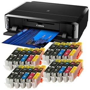 Bundle - Canon Pixma iP7250 (mit 20x Ti-Sa XL Refill Tintenpatronen) Tintenstrahldrucker mit WLAN, Auto Duplex Druck (9600x2400 dpi, USB)