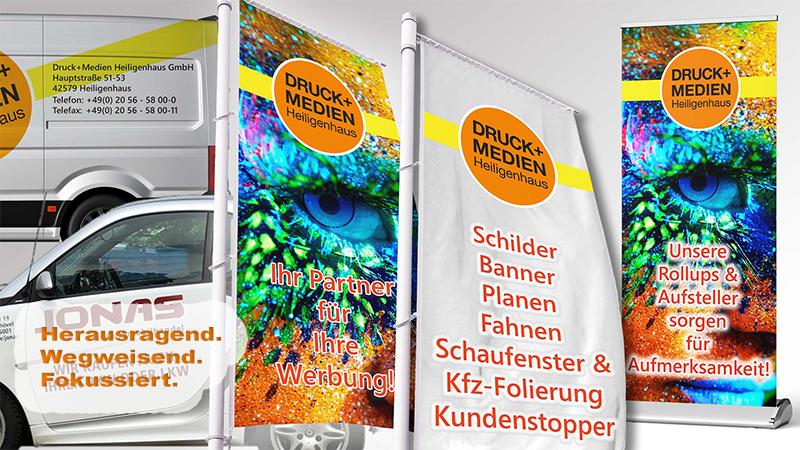 Werbetechnik von der Druck+Medien Heiligenhaus GmbH