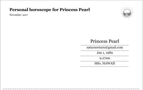 FREE Personal horoscope postcard