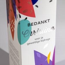 Gepersonaliseerde huls voor wijn verpakking met zilverfolie print
