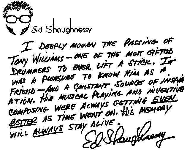 Tony Williams Ed Shaughnessy Note