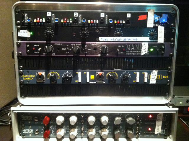 9. The API, Chandler, Manley, and Vintech preamps that Samuels used on the session.