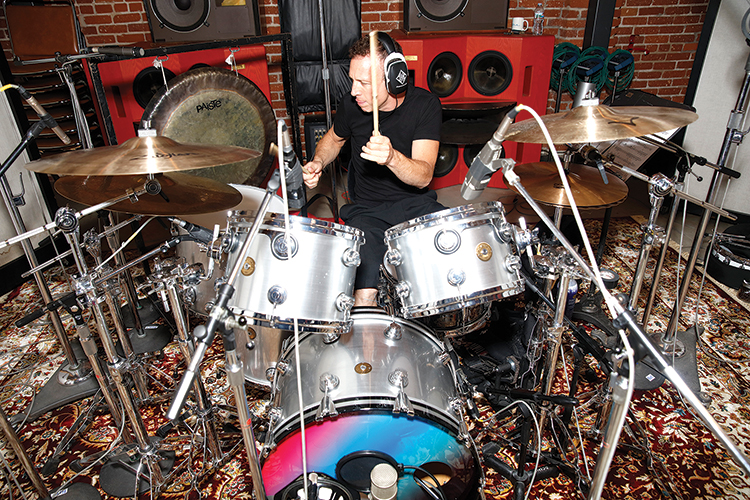 Stephen Perkins playing drums in-studio with Pan Rocks