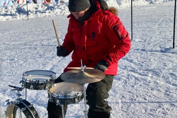 Aaron Ginns set a world record by playing drums at the North Pole
