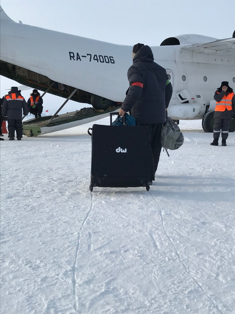 The cargo plane that brought Aaron Ginns and his drums to the North Pole.