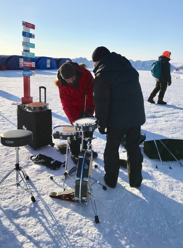 Aaron Ginns sets up the DW LowPro kit at the North Pole. Yes, that pole is the actual North Pole.