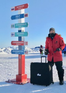Aaron Ginns arrives with drums at the North Pole