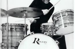 "The ""Boy Drummer"" Roy Burns had definitely changed his look by the time of this late-'70s Rogers ad."