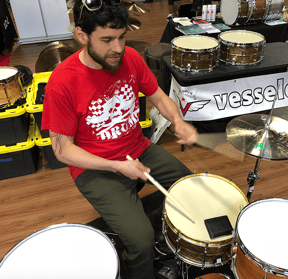 Editor Nick Grizzle at the SoCal Drum Show in April.