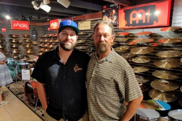 Gary Forkum, right, with his son, Matt, at Fork's Drum Closet in Nashville, Tennessee