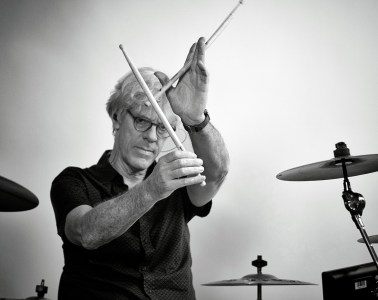 Stewart Copeland in studio recording his part for the Beat Hunger campaign. Photo by Jeff Luterbach.