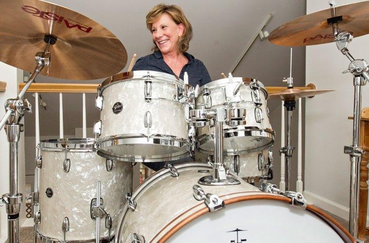 Sayre Berman behind the drum set