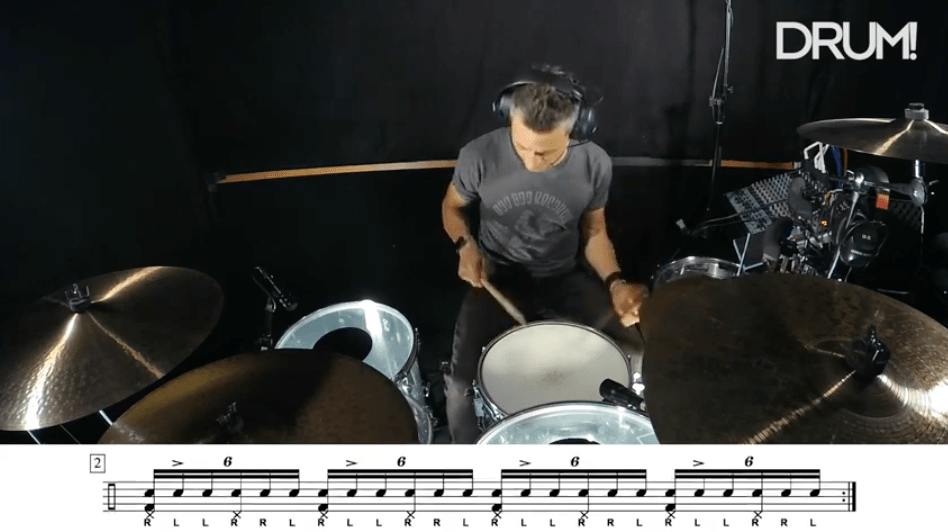 Lesson: Moving Accents Through The Six-Stroke Roll On The Drum Set