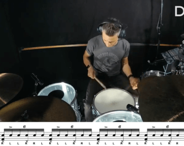 six-stroke roll on drum set