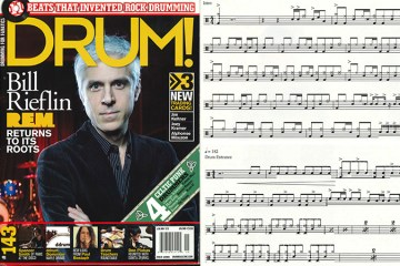 REM Drummer Bill Rieflin drum transcription and drum magazine cover
