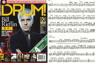 REM Drummer Bill Rieflin drum transcription and drum magazine cover