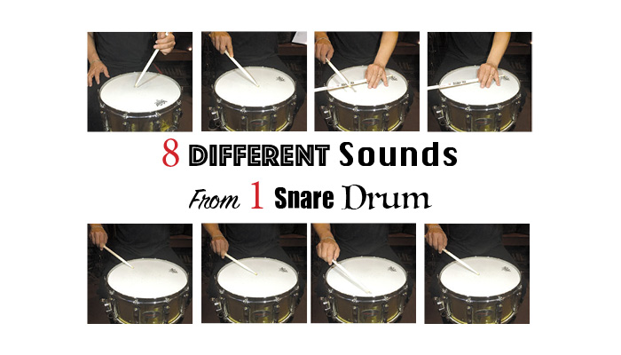 8 different sounds from 1 snare drum