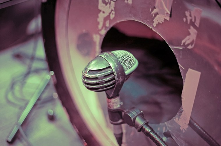 bass drum with microphone