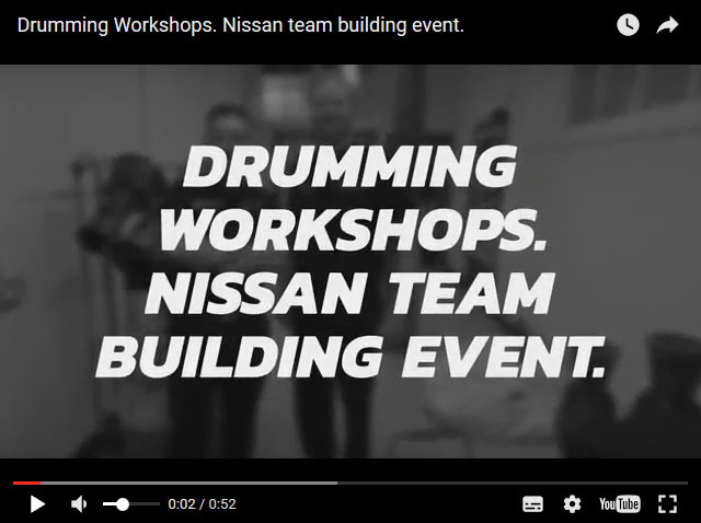 Drumming Workshops provide Boomwhackers and Samba drumming for the finance team at Nissan.