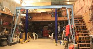 Large garage with lift