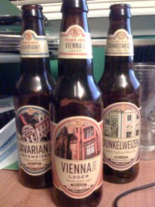 Three styles of Trader Joe's beer: Vienna Style Lager, Bavarian Style Hefeweizen, and Dunkelweizen