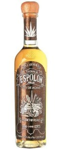 A older-style bottle of Espolón añejo tequila