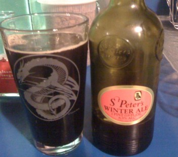 A half-liter of St. Peter's Winter Ale